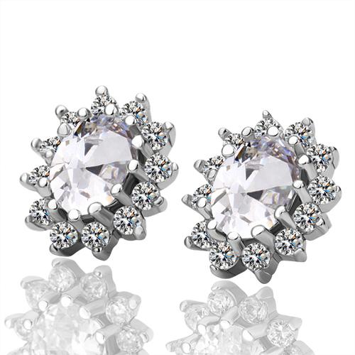 Обици КЕЙТ, 18K бяло златно покритие, Zerga Jewelry, 18KG E01218