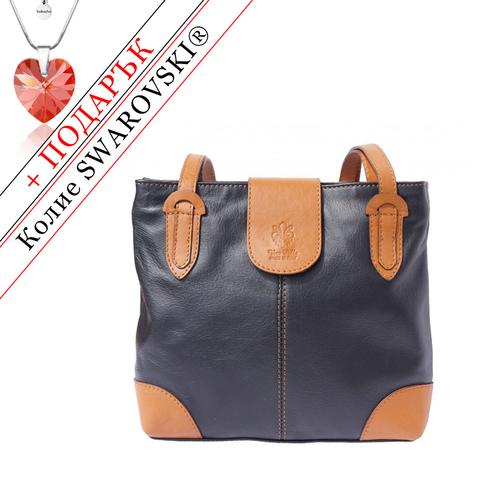Чанта Естествена Кожа ФРАНЧЕСКА, FLORENCE, черен/кафяв цвят, Код FL0151