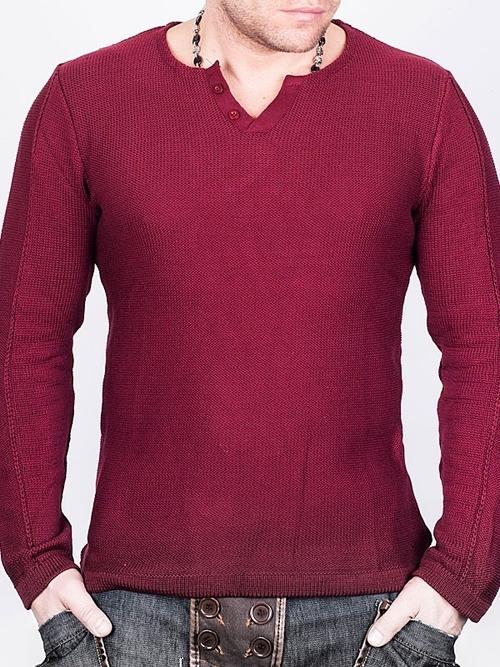 Червен пуловер с остра яка Noche