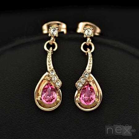 Обеци 'Rose Pleasure' с кристали Swarovski Elements и 18K златно покритие