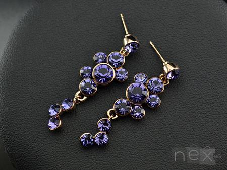 Обеци 'Violet Delight' с кристали Swarovski Elements и 18K златно покритие