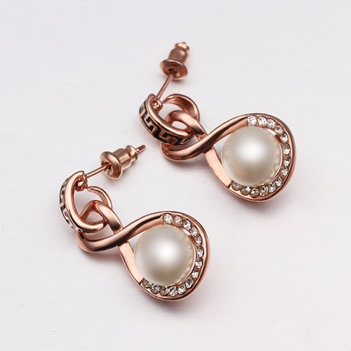 18KG E45944 Обеци РИМСКА ПЕРЛА, Zerga Jewelry, розово 18К златно покритие
