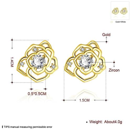 Обеци ЗЛАТНИ ЦВЕТЯ с 18К Жълто Злато, Zerga Brand, Код 18KG E01214-A
