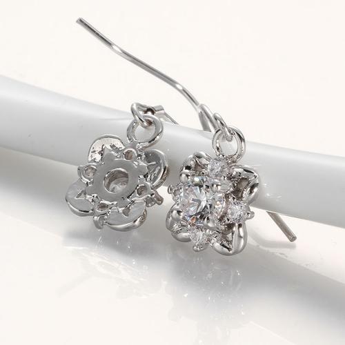 Обеци ЛЮСИЛ, Австрийски кристали, 18К Бяло Златно Покритие Zerga Brand, Код 18KG E11013-C