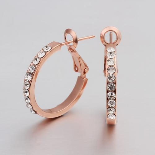 18KG E30819 Обеци КРИСТАЛНИ ХАЛКИ малки, Zerga Jewelry, розово златно покритие