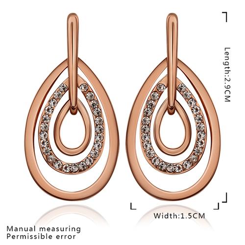 18KG E89814 Обеци НЕЖНО ЧУВСТВО - Zerga Brand, розово злато и кристали