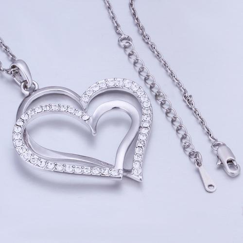 Колие ДВЕ СЪРЦА, 18К бяло злато, колекция Zerga Jewelry, Код 18KG N41978