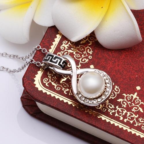 18KG N67038 Колие РИМСКА ПЕРЛА, Zerga Collection - бяло златно покритие