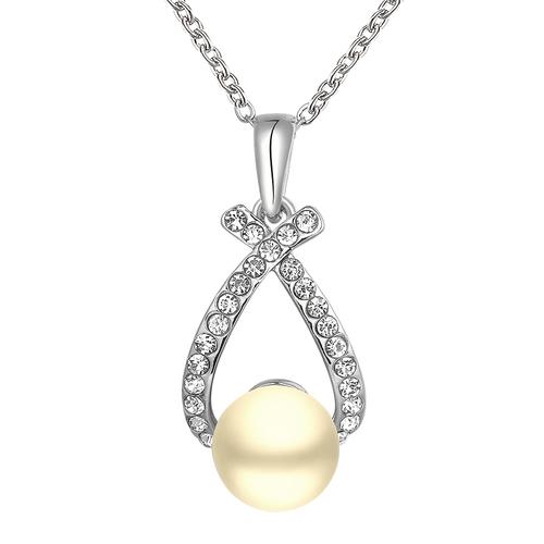 Колие ЕЛЕГАНТНА ПЕРЛА, Zerga Collection - 18К бяло златно покритие, 18KG N71918