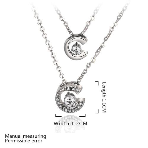 Колие ДЕН И НОЩ с Austrian Crystals и 18К Бяло Злато, Колекция Zerga Brand, Код 18KG N81015-C