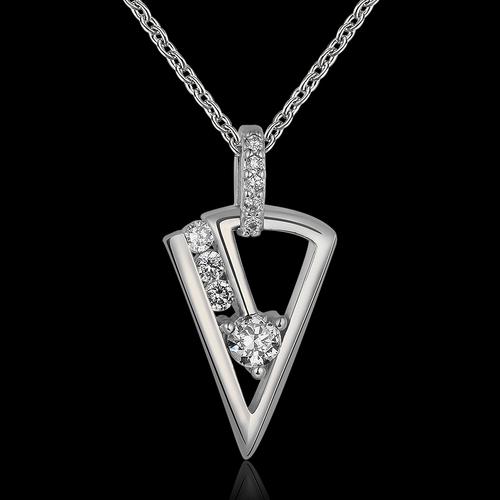 Колие ЕМАНУЕЛА с Austrian Crystals и 18К Бяло Злато, Колекция Zerga Brand, Код 18KG N81019-C