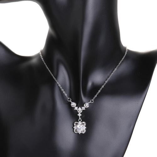 Колие и обеци комплект ЛЮСИЛ, Австрийски кристали, 18К Бяло Златно Покритие, Zerga Collection, 18KG S81510-C-2