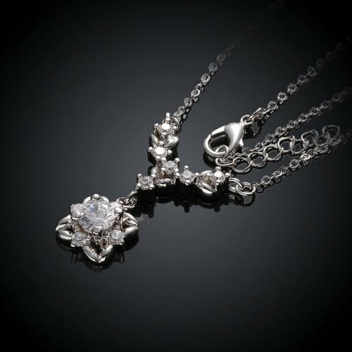 Колие ЛЮСИЛ, Австрийски кристали, 18К Бяло Златно Покритие Zerga Brand, Код 18KG N81510-C