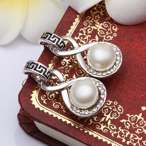 18KG E40956 Обеци РИМСКА ПЕРЛА, Zerga Brand - бяло златно покритие