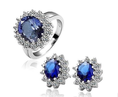 18KG S08498 Комплект бижута КЕЙТ - Zerga Jewelry. Обици и пръстен със син кристал.