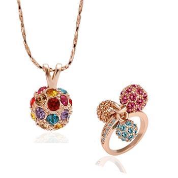 18KG S15771 Бижута ЦВЕТНА НАГИРА. Пръстен и колие oт Zerga Jewelry, розово златно покритие