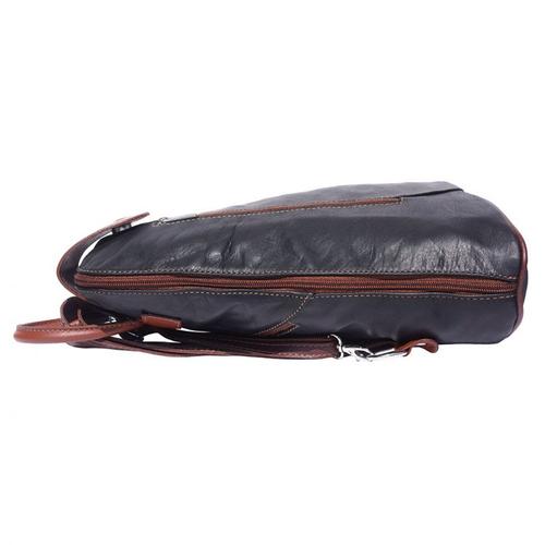 Раница Естествена Кожа ДЖОВАНИ, FLORENCE, черен/кафяв цвят, Код FL20091