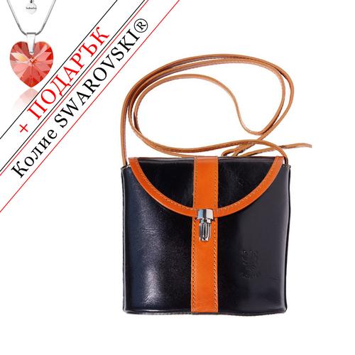 Чанта Естествена Кожа ЛА СКАЛА, FLORENCE, черен/кафяв цвят, Код FL2020