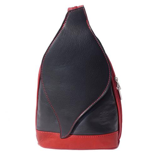 Раница Естествена Кожа БЕНИНИ, FLORENCE, черен/червен цвят, Код FL20600