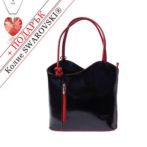 Чанта Естествена Кожа БЕНЕДИКТА, FLORENCE, черен/червен цвят, Код FL2071