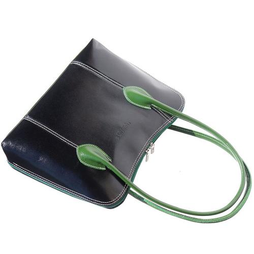 Чанта Естествена Кожа ДА ВИНЧИ, FLORENCE, черен/зелен цвят, Код FL2162