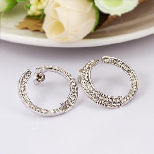 Обици КРИСТАЛИНА с 18K бяло златно покритие, Zerga Jewelry, Код: 18KG E61114