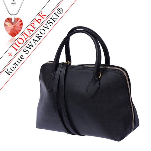 Чанта Естествена Кожа ЛАРГО ДИ КОМО, FLORENCE, черен цвят, Код FL3084