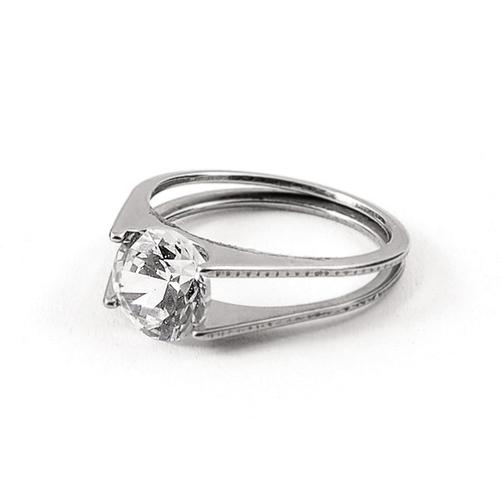 316L R003 Пръстен от стомана БЛИЗОСТ с кристален цирконий. Размер 6, 7, 8 и 9! Годежен пръстен!
