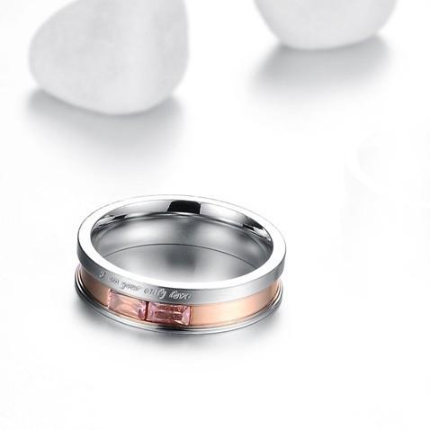 Пръстен ВЕЧНОСТ, халка стомана с кристали. Размери 5,6, 7 и 8. Код: 316L R005F
