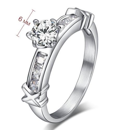 Пръстен от 2 части КОПНЕЖ, стомана с кристален цирконий. Размери 6, 7, 8 и 9! Годежен пръстен, Код 316L R016