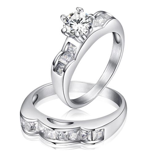Пръстен от 2 части ВЯРНОСТ, стомана с инкрустирани циркони. Годежен пръстен! Размери 6, 7 и 8, Код 316L R045