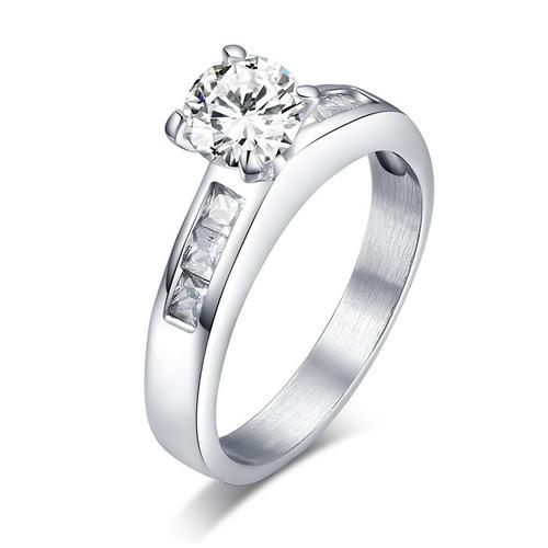 Пръстен от 2 части НАСТРОЕНИЕ, стомана с инкрустирани циркони. Годежен пръстен! Размери 6, 7 и 8, Код 316L R046