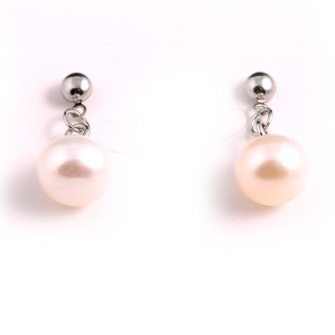 Стоманени бижута с перли ФИНЕС, обеци и висулка с естествени перли, цвят бял, 316L S065