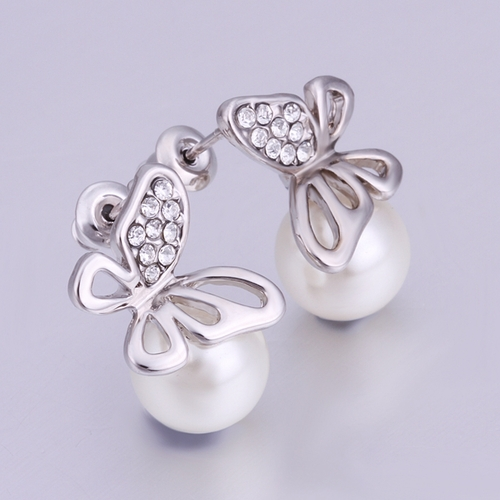 Обици ПЕРЛЕНА ПЕПЕРУДА с 18K бяло златно покритие, Zerga Jewelry, Код: 18KG E31615