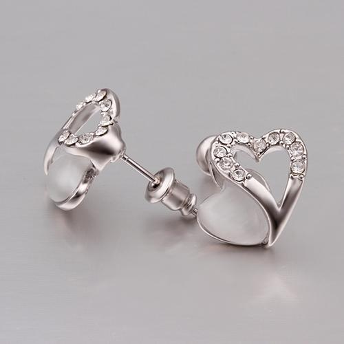Обици НЕЖНО СЪРЦЕ с 18K бяло златно покритие, Zerga Jewelry, Код: 18KG E41511
