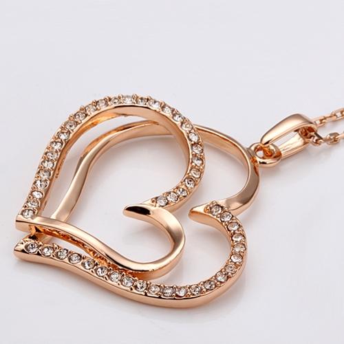 Колие и обици ДВЕ СЪРЦА, 18К розово злато, колекция Zerga Brand, Код 18KG S70405