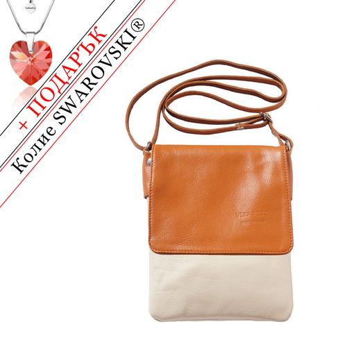 Чанта Естествена Кожа БЕЛАДЖО, FLORENCE, бежов/кафяв цвят, Код FL4145