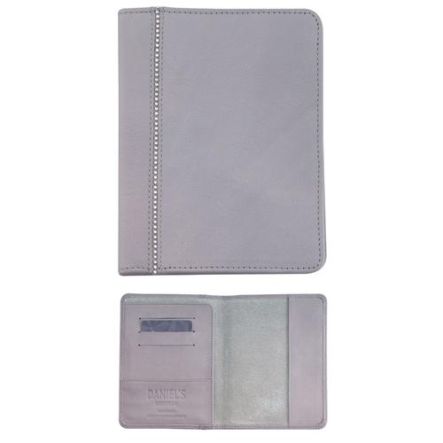 Кожен луксозен калъф за паспорт DSE Swarovski Elements, св. сива кожа и кристали, Код 5082438