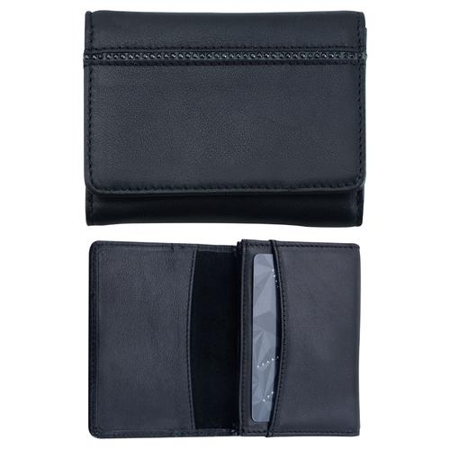 Луксозен портфейл за кредитни карти Swarovski Elements DSE, черна кожа и кристали, Код 5082463