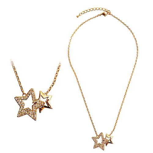 Колие Звезди DSE Swarovski Elements, 18К златно покритие, Код 5087612
