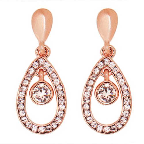 Обеци Капка DSE Swarovski Elements, бял кристал и 18К розово златно покритие, Код 5087636