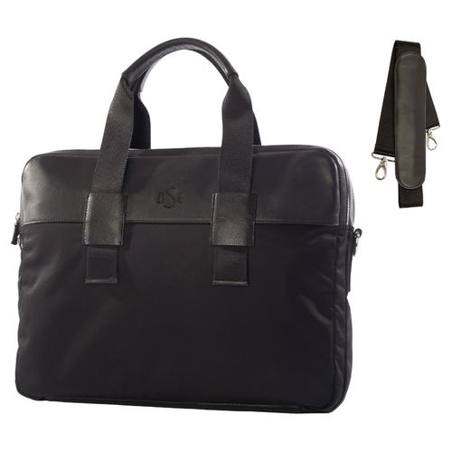 Луксозна чанта с дръжки DSE Swarovski Elements, естествена кожа и черни кристали, Код 5100200