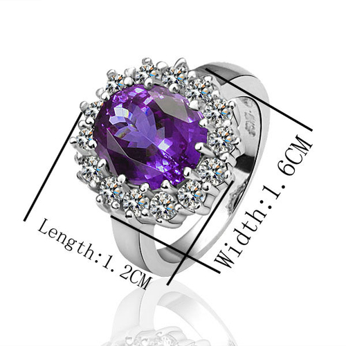 18KG S04939 Комплект бижута КЕЙТ. Колие, обици и пръстен от Zerga Jewelry. Лилав кристал!
