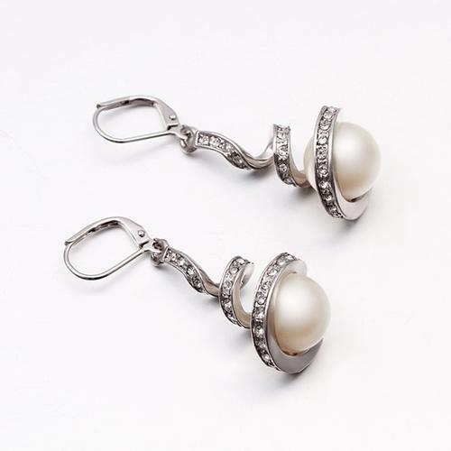 18KG E08192 Обеци НЕЖНА ПЕРЛА, Zerga Jewelry, бяло златно покритие
