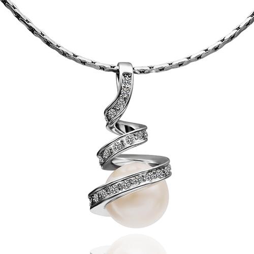 18KG S03495 Комплект бижута НЕЖНА ПЕРЛА, Zerga Brand, бяло златно покритие