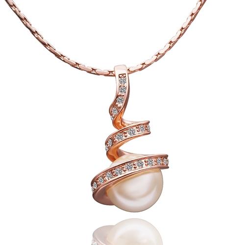18KG S05420 Обици и колие - НЕЖНА ПЕРЛА , Zerga Jewelry. Луксозен дамски комплект с розово златно покритие