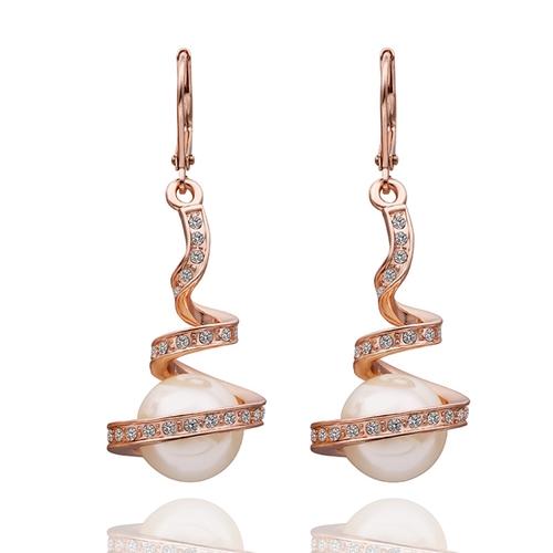 18KG E07181 Обеци НЕЖНА ПЕРЛА, Zerga Collection, 18К розово златно покритие