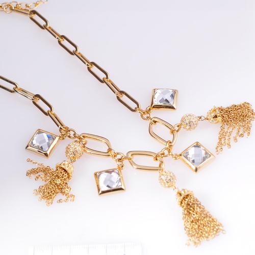 Колие ЕММА с Бели Austrian crystals и 18К Жълто злато, UB Unique Boutique #UB N014