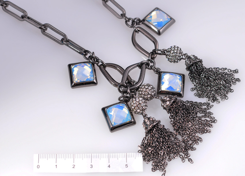 Колие ИРЕН с Бели Austrian crystals и Родиево Покритие, UB Unique Boutique #UB N020