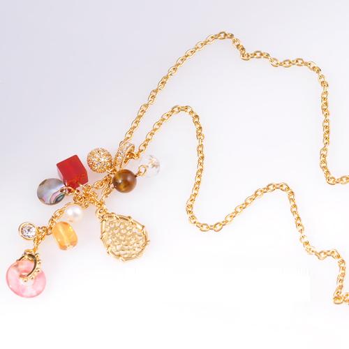Колие КАТРИН с Многоцветен Емайл и 18К Жълто злато, UB Unique Boutique #UB N027